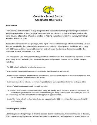 Columbia School District Acceptable Use Policy