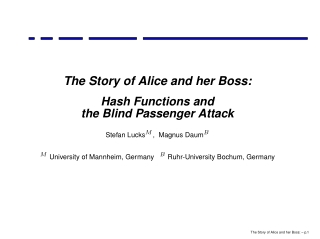 The Story of Alice and her Boss: