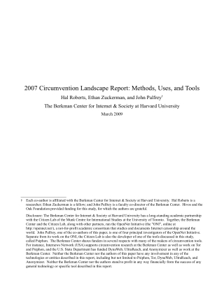 2007 Circumvention Landscape Report: Methods, Uses, and Tools