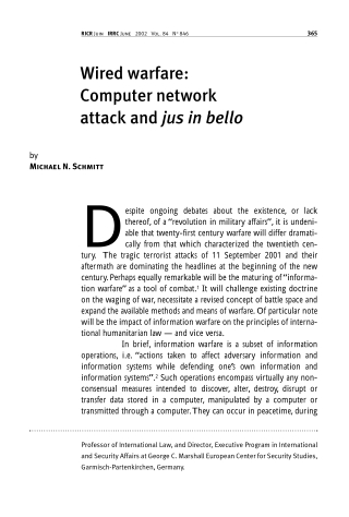 Wired warfare:Computer networkattack and jus in bello