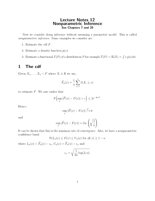 Lecture Notes 12 Nonparametric Inference