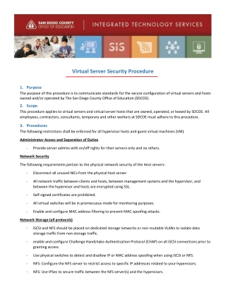 Virtual Server Security Procedure