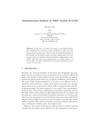 Authentication Failures in NIST version of GCM