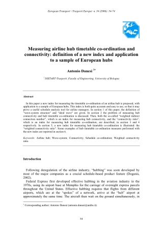 Measuring airline hub timetable co-ordination and connectivity: definition of a new index and application to a sample of European hubs