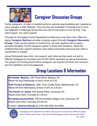 Caregiver Discussion Groups