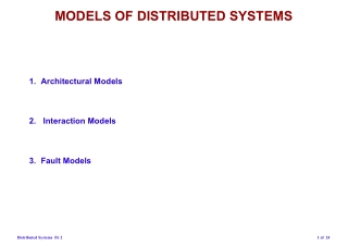 MODELS OF DISTRIBUTED SYSTEMS