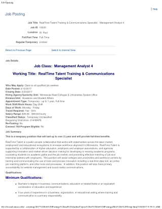 Job Class: Management Analyst 4 Working Title: RealTime Talent Training & Communications Specialist