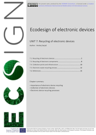 Ecodesign of electronic devices