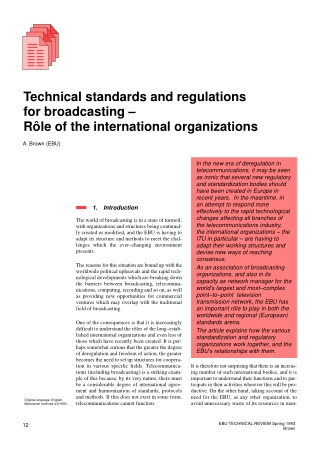 Technical standards and regulations for broadcasting – Rôle of the international organizations