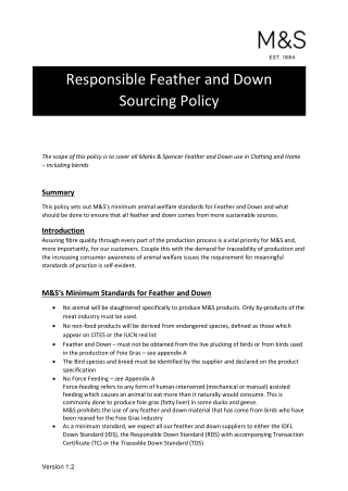 Responsible Feather and Down Sourcing Policy