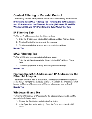 Content Filtering or Parental Control