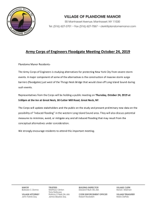 Army Corps of Engineers Floodgate Meeting October 24, 2019