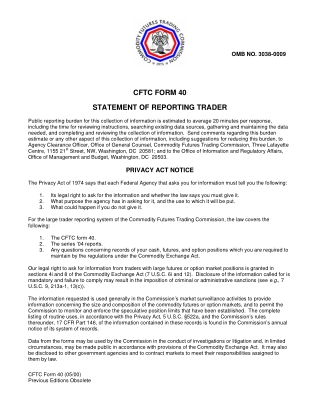 CFTC FORM 40 STATEMENT OF REPORTING TRADER