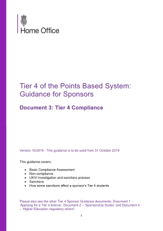 Tier 4 of the Points Based System: Guidance for Sponsors