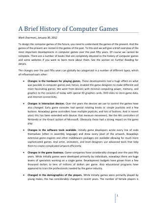 A Brief History of Computer Games