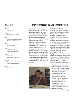 Farewell Message as Department Head