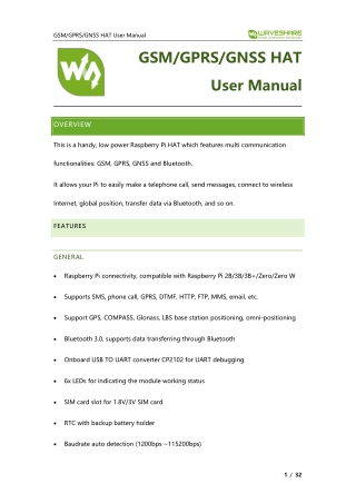 GSM/GPRS/GNSS HAT User Manual