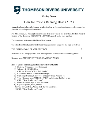 How to Create a Running Head (APA)