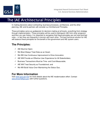 The IAE Architectural Principles