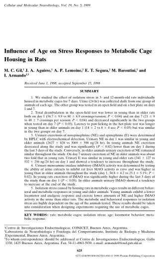 Influence of Age on Stress Responses to Metabolic Cage Housing in Rats