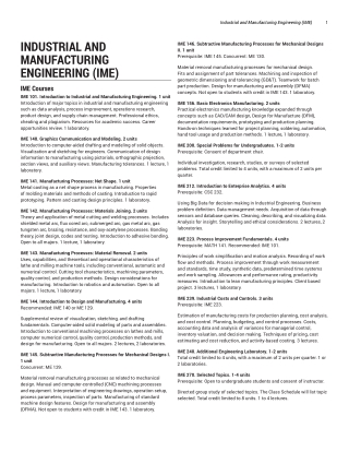 INDUSTRIAL AND MANUFACTURING ENGINEERING (IME)