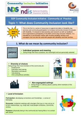 Topic 1: What does Community Inclusion look like?