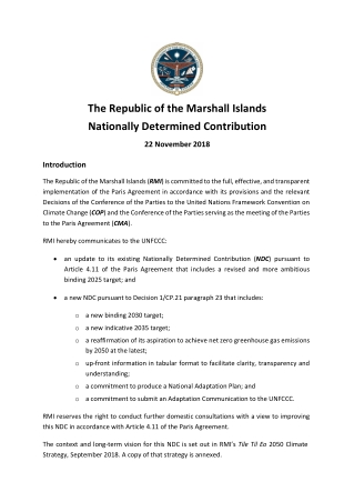 The Republic of the Marshall Islands Nationally Determined Contribution