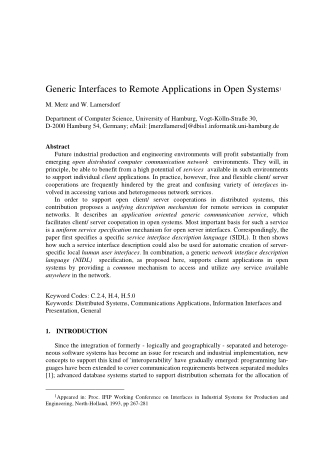Generic Interfaces to Remote Applications in Open Systems
