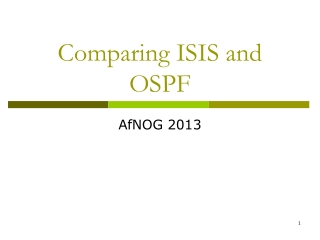 Comparing ISIS and OSPF