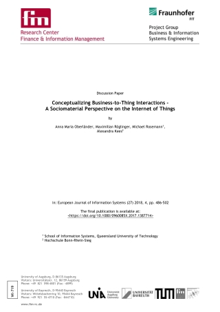 Conceptualizing Business-to-Thing Interactions - A Sociomaterial Perspective on the Internet of Things