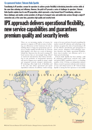 IPX approach delivers operational flexibility, new service capabilities and guarantees premium quality and security levels