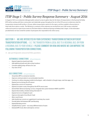 ITSP Stage 1 - Public Survey Response Summary - August 2016