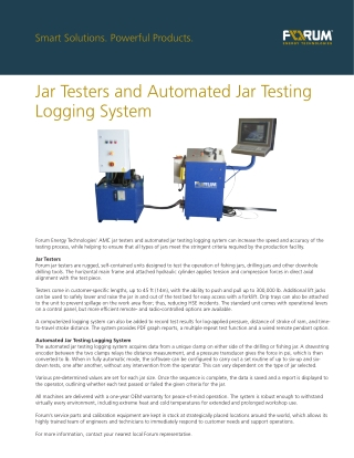 Jar Testers and Automated Jar Testing Logging System