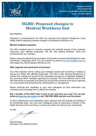 ISLHD: Proposed changes to Medical Workforce Unit