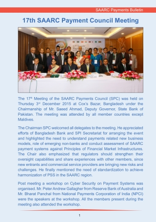 17th SAARC Payment Council Meeting