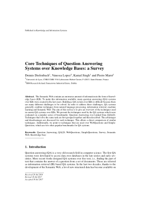 Core Techniques of Question Answering Systems over Knowledge Bases: a Survey