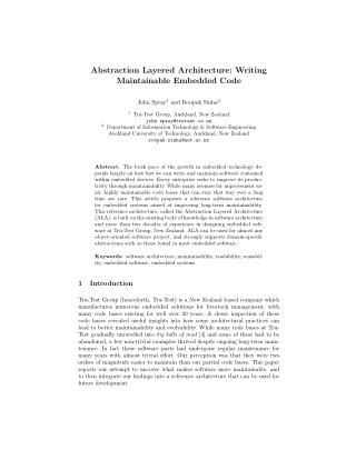 Abstraction Layered Architecture: Writing Maintainable Embedded Code