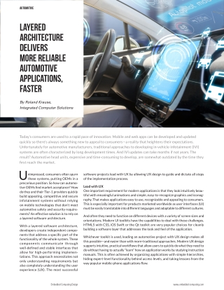 Layered Architecture Delivers More Reliable Automotive Applications, Faster