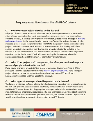 Frequently Asked Questions Frequently Asked Questions on Use of MAI on Use of MAI- -CoC CoC Listserv Listserv