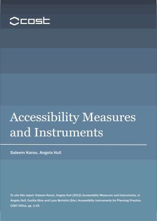 Accessibility Measures and Instruments