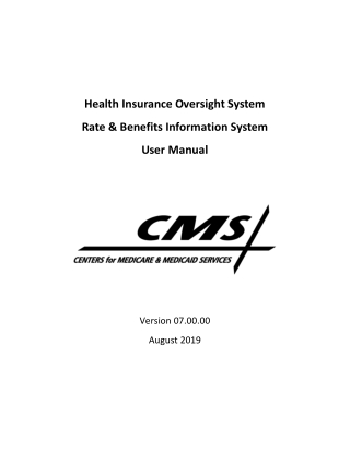 Health Insurance Oversight System Rate & Benefits Information System User Manual