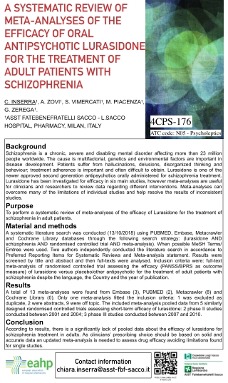 A SYSTEMATIC REVIEW OF META-ANALYSES OF THE EFFICACY OF ORAL ANTIPSYCHOTIC LURASIDONE FOR THE TREATMENT OF ADULT PATIENTS WITH SCHIZOPHRENIA