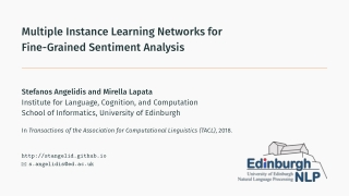 Multiple Instance Learning Networks for Fine-Grained Sentiment Analysis