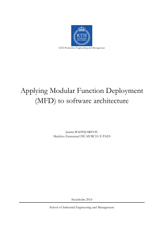 Applying Modular Function Deployment (MFD) to software architecture