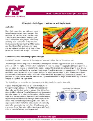 Fiber Optic Cable Types – Multimode and Single Mode
