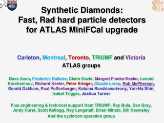 Synthetic Diamonds: Fast, Rad hard particle detectors for ATLAS MiniFCal upgrade