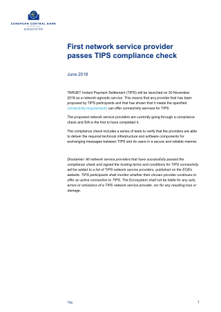 First network service provider passes TIPS compliance check