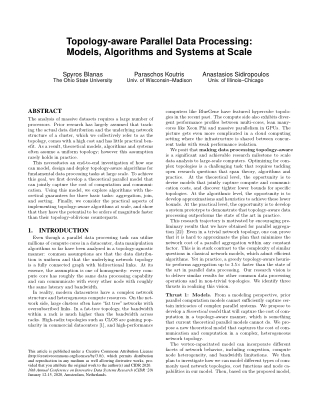 Topology-aware Parallel Data Processing: Models, Algorithms and Systems at Scale