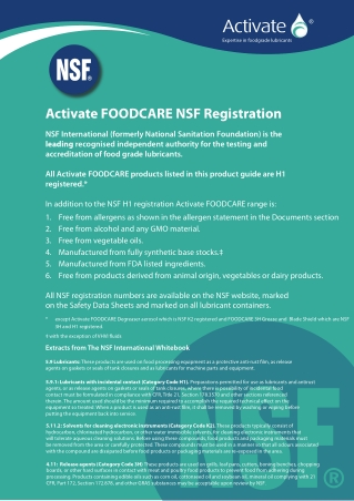 Activate FOODCARE NSF Registration