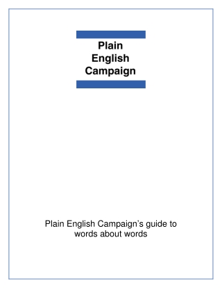 Plain English Campaign's guide to words about words